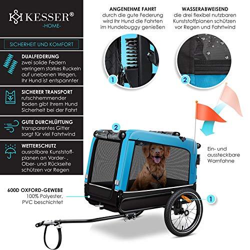 KESSER® Boxer 3-in-1 Hundeanhänger, Hundebuggy & Jogger Fahrradanhänger groß ca. 240 Liter Volumen, gefedert, Material: 600D Oxford Canvas, SmartSpace Concept, maximale Belastbarkeit: 40 kg, Blau
