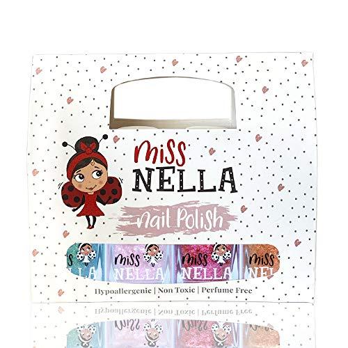 Miss Nella collezione magica Scatola da 4 smalti peel off, senza odori, a base d'acqua e sicuro per bambini, rosa, rosso, oro e blu