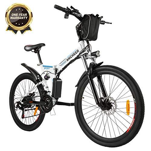 """Bicicletta Elettrica Pieghevole, Bici al Lavoro, E-Bike -Fold 20""""/26"""", Adulto, 250W Batteria 36V 8Ah, Cambio Shimano a 7 velocità (26 Bianco-Avventura)"""