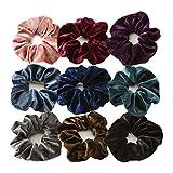 Coleteros de pelo de terciopelo Bobbles elásticos suaves para el pelo bandas para niñas y mujeres (color 9 piezas)
