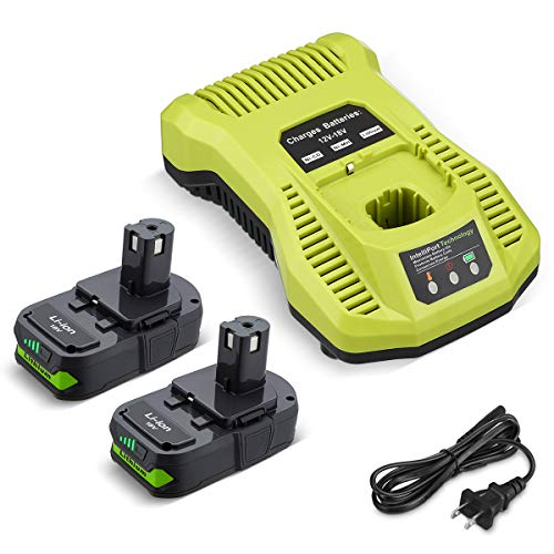FirstPower 2Pack 3.0Ah 18V Li-ion Battery Compatible with Ryobi 18V ONE+ P102 P103 P107 P109 P104 P105 Battery + P117 Charger for 18V Lithium ion Battery Compatible with Ryobi Cordless Tools