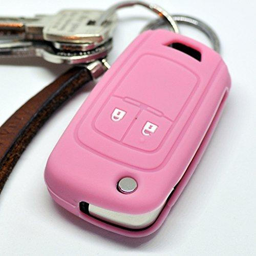 Soft Case Silikon Auto Schlüssel Schutz Hülle Klappschlüssel Pink kompatibel mit Opel Chevrolet ab 2008