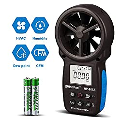 HOLDPEAK 866A Digital Anemometer Handheld CFM Meter with USB Connect - Wind Speed Meter Measures Wind Speed + Temperature + Dew Point + Air Flow Meter with Data Hold & USB & Relative Humidity (Black)