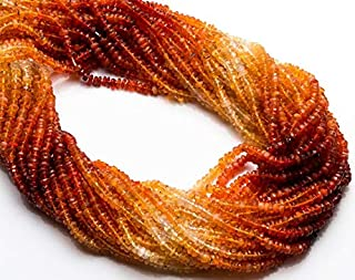 Natural Gemstone Mexican Fire Opal Micro Faceted 3MM Rondelle Beads 13 Inch Full Strand Very Rare Gem Facet Bead Machine Cut