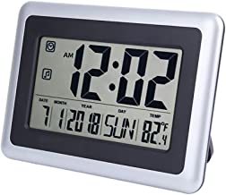 eYotto Large Digital Wall Clock, 7.5 Inch LCD Alarm Clock Battery Operated Silent Desk Clocks Indoor Temperature Calendar Decoration for Home Kitchen Bedroom Office