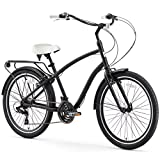 sixthreezero EVRYjourney Men's 21-Speed Hybrid Cruiser Bicycle, 26' Wheels with 19' Frame, Matte Black with White Seat and Grips