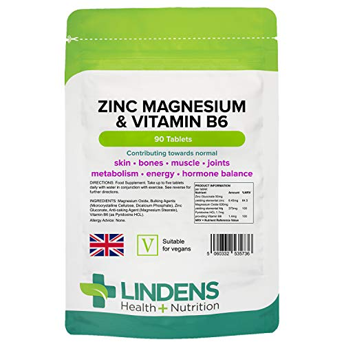 Lindens Zinc, Magnesium and Vitamin B6 Complex Tablets - 90 Pack - Reduction of Tiredness and Fatigue - UK Manufacturer, Letterbox Friendly