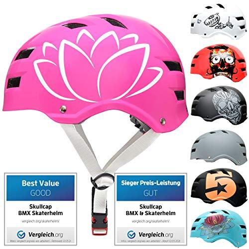 Skullcap® Skaterhelm Erwachsene Pink Flower - Fahrradhelm Damen ab 14 Jahre Größe L 58-61 cm - Scoot and Ride Helmet Adult Pink - Skater Helm für BMX Inliner Fahrrad Skateboard