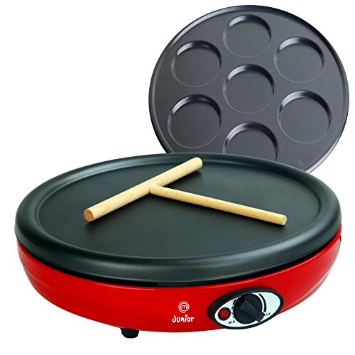 Masterchef Junior Crepera Easy Party- Potenza 1000 W, 2 Piastre antiaderenti intercambiabili per Crepes e MiniCrepes, Termostato Regolabile, Colore Rosso - Accessorio Spargitore Tipo T