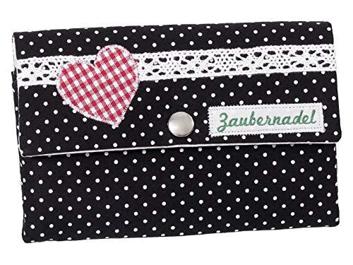 Damenbörse Damen Geldbörse Portemonnaie Handmade Stoff Schwarz Punkte Herz Druckknopf