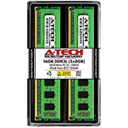 A-Tech 16GB Kit (2x8GB) DDR3 / DDR3L 1600 MHz PC3-12800 UDIMM 2Rx8 1.35V/1.5V CL11 240 PIN DIMM Non-ECC Unbuffered Desktop Computer Memory RAM Upgrade Modules
