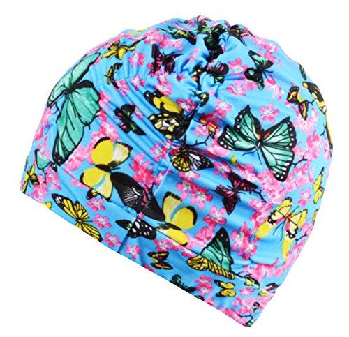 Black Temptation Doux Mode Tissu Printemps Casquettes Papillon Grand Ear Protection Swim Caps