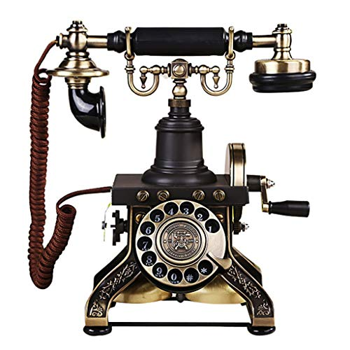 Telefono antiguo 1892 Europeo - Vintage Hand Crank Republic Nostalgia Inicio Disco Giratorio Retro Línea terrestre
