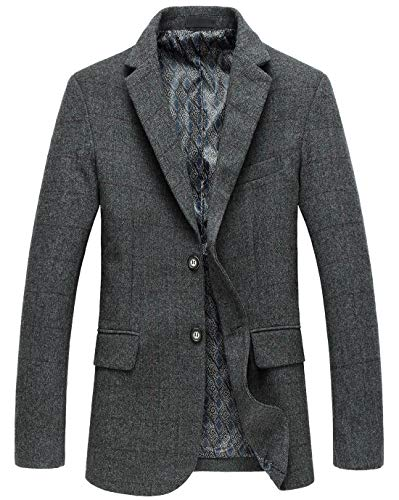 chouyatou Men's Classic Plaid Two-Button Wool Blend Tailored Suit Separate Coat (Large, Gray)