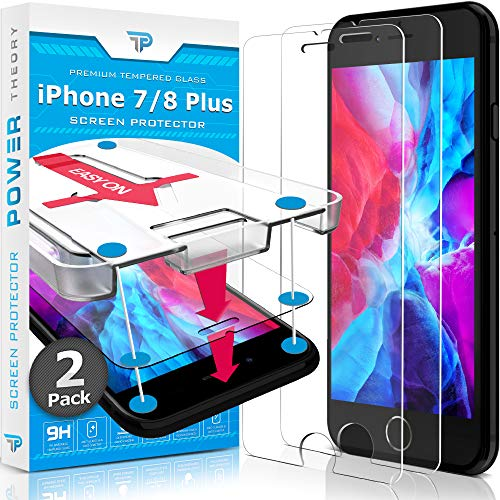 Power Theory Screen Protector for iPhone 8 Plus/iPhone 7 Plus Glass [2-Pack] with Easy Install Kit - Premium Tempered Glass for 7Plus & 8Plus