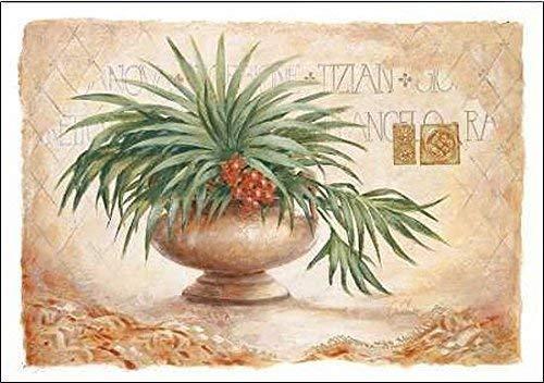 Rahmen-Kunst Keilrahmen-Bild - Claudia Ancilotti: Tizian Leinwandbild Stillleben floral modern beige (35x50)