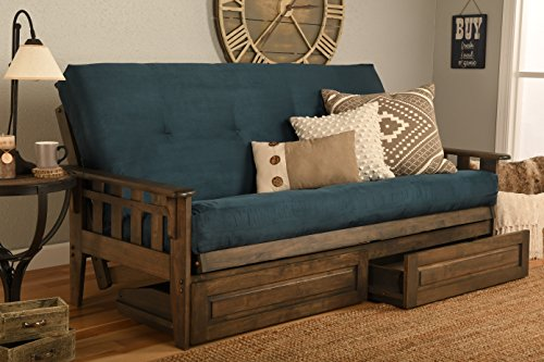 Jerry Sales Tucson Rustic Walnut Frame and Mattress Set with Choice to add Drawers, 8 Inch Innerspring Futon Sofa Bed Full Size Wood (Blue Matt, Frame and Drawers)