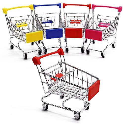 Zddaoole 5 Pcs Mini Shopping Cart,Mini Supermarket Handcart,Shopping Cart Shopping Utility Cart Mode Desk Storage Toy Desk Accessory Decoration Ornament Toys