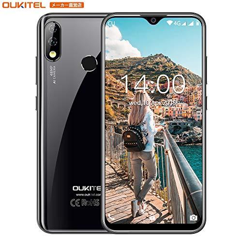 OUKITEL Y4800 SIMフリー スマホ本体48MP AIカメラ6GB RAM 128GB ROM Helio P70 6.3インチFHD水滴スクリーンAndroid 9.0 スマートフォン4000mAh バッテリーフェイスおよび指紋ロック解除 技術適合認証1年間の保証