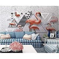 Iusasdz カスタム壁紙壁画モダン高品質3Dステレオ白黒幾何学的フラミンゴ背景壁3D壁紙-280X200Cm