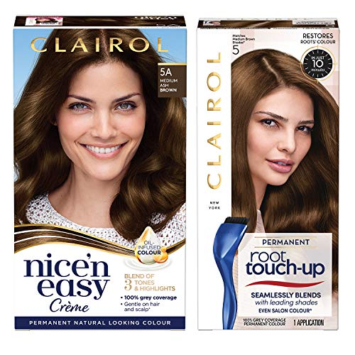 Clairol Nice'n Easy Permanent Colour (5A Medium Ash Brown) + Root Touch Up (5 Medium Brown)