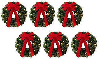 (2 Pack) 18-Inch Pre-Lit Battery-Operated Wreaths (Set of 3)