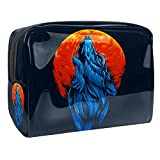 Bolsa de Maquillaje para niños Lobo Azul Aullando Accesorio de Viaje Neceser Pequeño Bolsas de Aseo Impermeable Cosmético Organizadores de Viaje 18.5x7.5x13cm