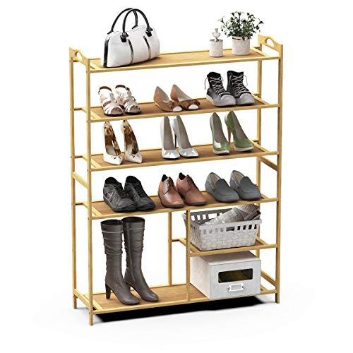 Lesfit Shoe Rack, Bamboo Shoe Racks Storage, 6 Tier Shoes Shelf Organizer