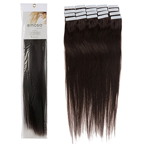 16 inch Emosa Remy Stright PU Tape Skin Seamless Human Hair Extensions #02 Dark Brown 100g
