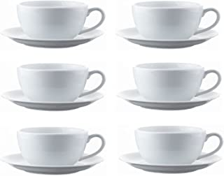 Set Of 6 Cappuccino Cups & Saucers Large White Porcelain Cup 34cl Drink Mug With 16cm Sauces