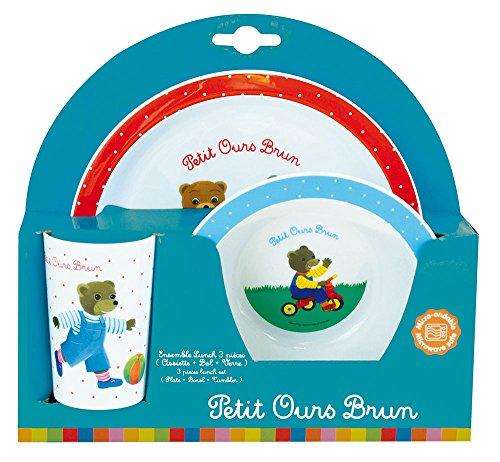 FUN HOUSE 005444 Petit Ours Brun Ensemble Repas Contenant 1 Assiette, 1 Bol et 1 Verre pour Enfant, Polypropylène, Blanc, 26,5 x 8,5 x 24,5 cm