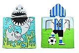 Lumsinker - Telo da bagno per bambini, per nuoto, spiaggia, poncho per bambini, 2pcs Shark Football, Taglia Unica