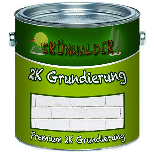 Grünwalder Premium 2-K grondverf mat incl. Verharder dan set wit, grijs, zwart kleurkeuze. 1 kg Wit Ral 9010