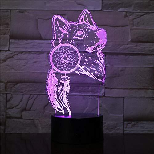 MRQXDP De wolf en de dromenvanger acrylglazen lamp kleurrijk met verrekijker voor kinderen led-nachtlampje op batterijen