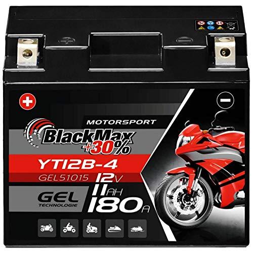 BlackMax GT12B-4 Motorradbatterie GEL 12V 11Ah YT12B-4 Batterie 51015 CT12B-4