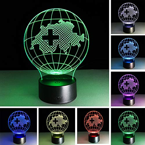 Lámpara Led 3D 7 Gradiente De Color Suiza Mapa Rgb