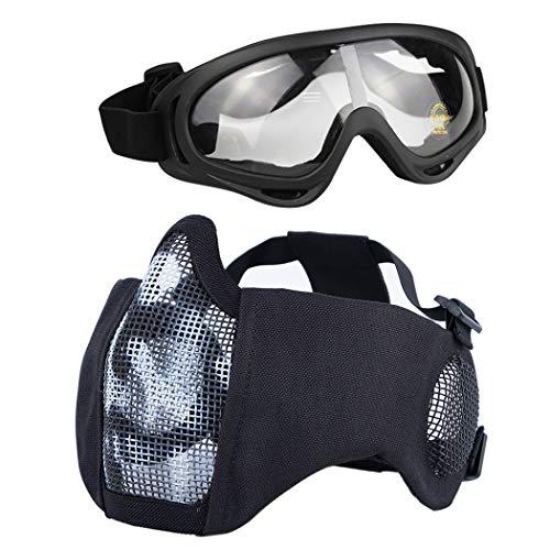 Aoutacc Airsoft - Juego de máscaras de malla de media cara con protección para los oídos y gafas para CS/caza/paintball/Shooting (WB)