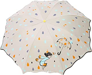 Children's Umbrella, Cute Cartoon Folding Umbrella, Children's Men and Women Black Plastic Umbrella