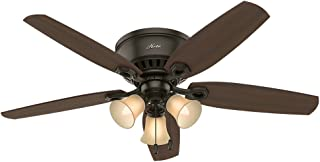 Hunter Indoor Low Profile Ceiling Fan, with pull chain control - Builder 52 inch, New Bronze, 53327