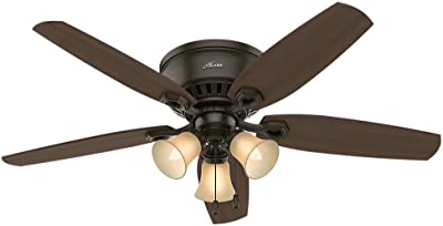 Hunter Fan Company 53327 Builder Indoor Low Profile Ceiling Fan with LED Light and Pull Chain Control, New Bronze finish