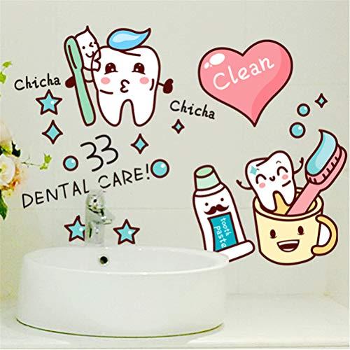 Mddjj Cartoon Stil Zahnbürste Wandaufkleber Vinyl Diy Zahnpasta Aufkleber Für Waschraum Toilette Fliesen Glas Dekoration