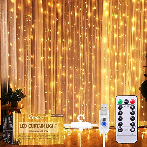 Catena Luminosa, Tenda Luminosa, Mroobest Tenda luminosa Luci Cascata per Finestra, 3M x 3M 300LEDs USB 8 Modalità e Resistenza all'acqua - Per Esterni, Interni, Natale, Camera da Letto, Giardino