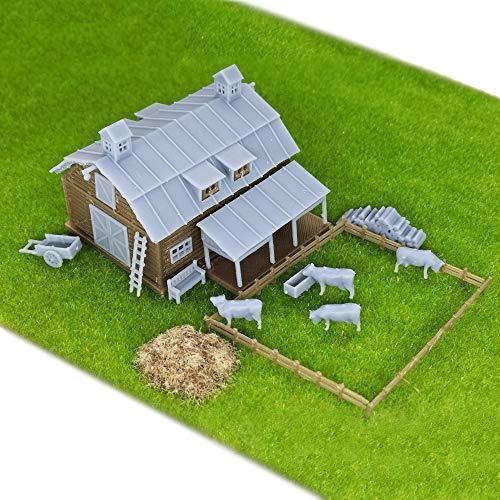 Outland Models Railroad Scenery Country Farm Barn w Accessories Z Scale 1:220