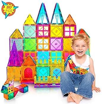 80-Piece Magnetic Tiles Kids Building Blocks