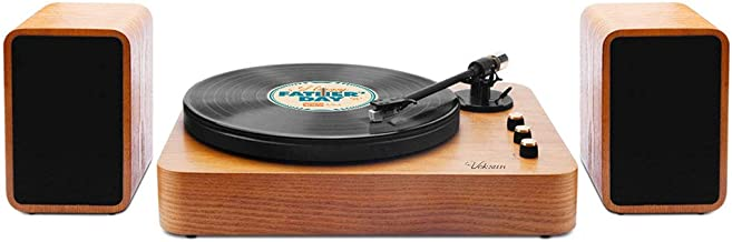 Voksun 3-Speed Precision Turntable with Dual 15 Watt Speakers, High Fidelity Vinyl Record Player with Magnetic Cartridge, ...