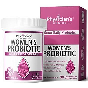 Prebiotics & Probiotics for Women - Science Backed ProCran - Organic Prebiotics 50 Billion CFU D-Mannose & Cranberry for Digestive Immune Feminine Health Soy & Dairy Free 30 Vegan Capsules