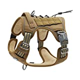 Auroth Tactical Dog Training Harness No Pulling Front Clip Leash Adhesion Reflective K9 Pet Working Vest Easy Control for Small Medium Large Dogs Army Yellow M
