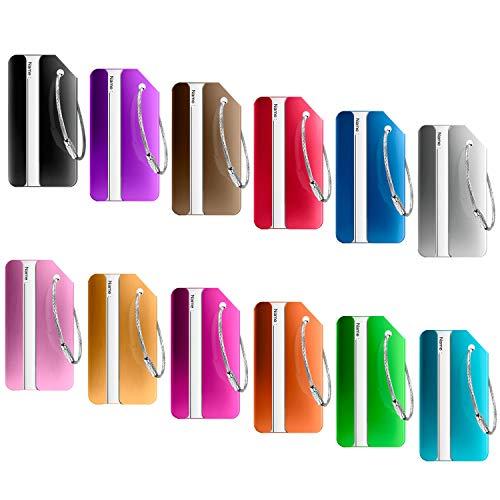 12 Stück Kofferanhänger Koffer, PAMIYO Aluminium Gepäckanhänger Kofferanhänger mit Flugzeug Gepäckanhänger aus Metall - (Verschiedene Farben)