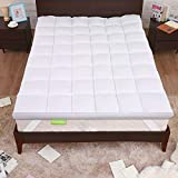 Nelaukoko Mattress Topper, King Pillowtop Topper,Extra Thick Mattress Topper,Cooling Mattress Pad,Quilted Soft Filled Bed Topper Pillow Top with Breathable Microfiber Filling,Double Border Design