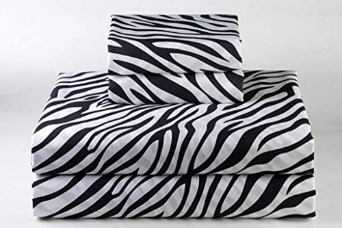 Bedding Sheets 4-Piece Set, Zebra Print Queen Size 18' Deep Pockets Fitted Sheet, 100% Cotton Sheets, Sateen Weaved Extra Soft, Cool & Breathable